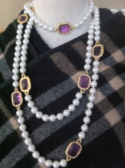 Chanel Extra Long Chanel Pearl with Purple Gripoix Station Sautoir Image 4