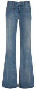 Current/Elliott Pants Denim Blue Stretch Navy Wide Flare Leg Jeans