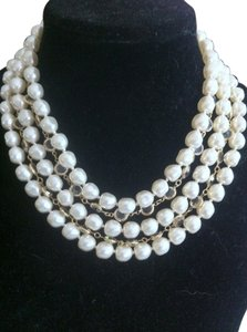 Chanel Vintage Chanel 5 Strand Gripoix Faux Baroque Pearl and Gold Plated Bezel Set Clear Crystal Necklace