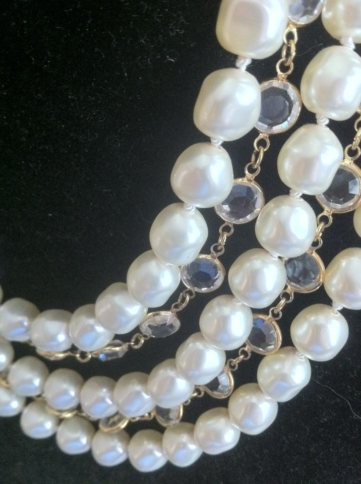 781044634f03f Chanel Pearl/Crystal Vintage Strand Gripoix Faux Baroque and Gold Plated  Bezel Set Necklace