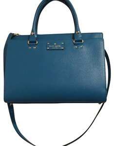 Kate Spade Leather Satchel in Neon Turquoise