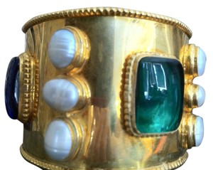 Chanel Chanel Bracelet / Gold Gilt Cuff With Gripoix Blue, Red, Green And Baroque Pearls