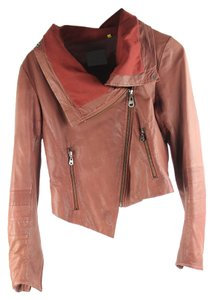 DOMA Red Leather Motorcyle Moto Leather Jacket
