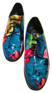 Jeffrey Campbell Jc Patent 7 Tie Up Lace Designer High Womens Multi Colored Flats