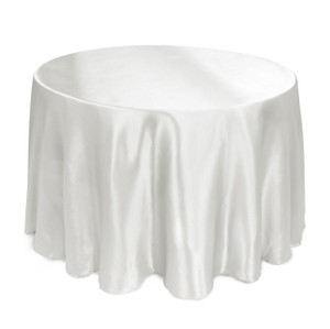 100% Woven Polyester (like Satin) 108 Inch Round White Tablecloths