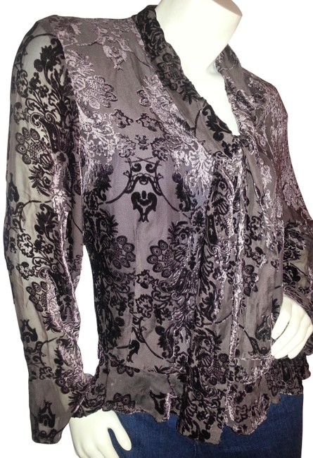 Liz Claiborne Silk Velvet Floral Burnout Ruffles Top chocolate brown