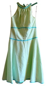 Elizabeth Wayman short dress Green Halter Seersucker Preppy Sundress on Tradesy