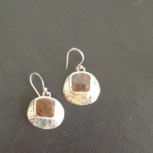 Silpada Silpada Hammered sterling silver earrings with brown stone accent