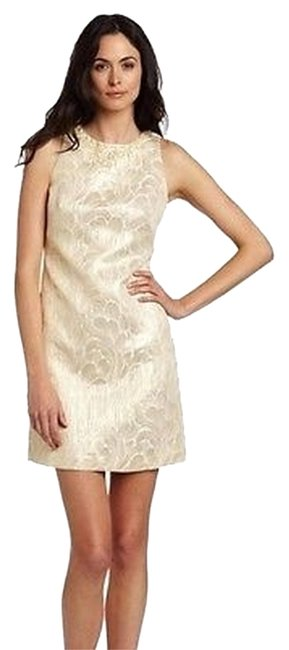 Item - Ivorygold Metallic Brocade Shift Dress 30963a-rm