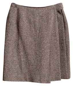 Alain Manoukian Tweed Wool Blend Silk Blend Skirt Brown
