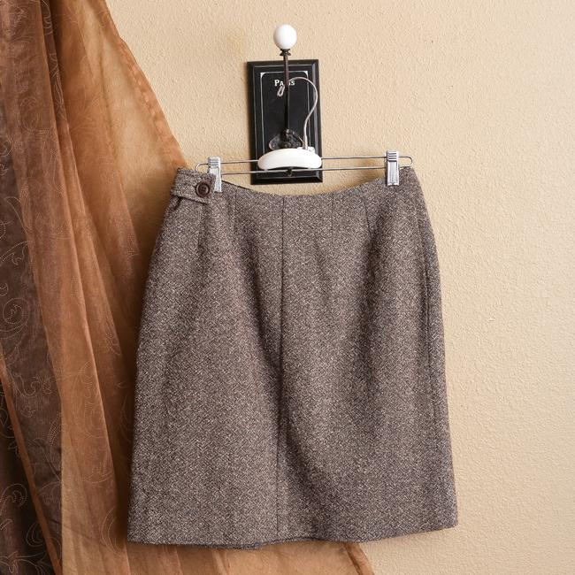 Alain Manoukian Tweed Wool Blend Silk Blend Skirt Brown Image 1
