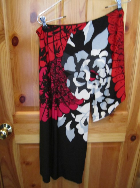 Bisou Bisou One Shoulder Large Floral Print Angel Sleeve Michael Bohbot Size 8 Dress