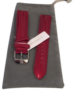 Michele New Auth Michele Leather Patent Scarlet Red 18mm Band