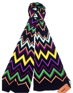 Missoni Missoni Knit Black Multi Color Zig Zag Print Scarf New With Tags