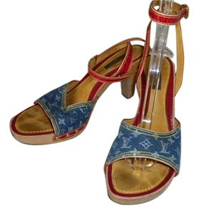 Louis Vuitton red leather and denim Mules