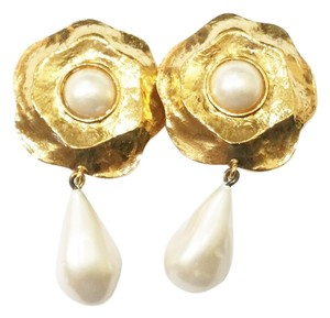 Chanel Chanel Vintage Gold Plated Faux Pearl Camellia Flower Clip on Earrings