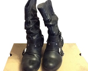 MIA Buckles Silver Hardware Studded Black Boots