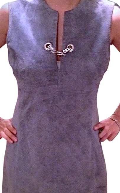 Item - Blue Gray Leather Retro Swing Above Knee Short Casual Dress Size 4 (S)