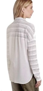 Anthropologie Button Front High Low Hem Sheer Solid Back Top Grey White