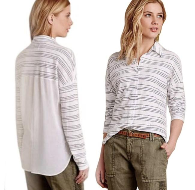 Anthropologie Button Front High Low Hem Sheer Solid Back Top Grey White Image 1