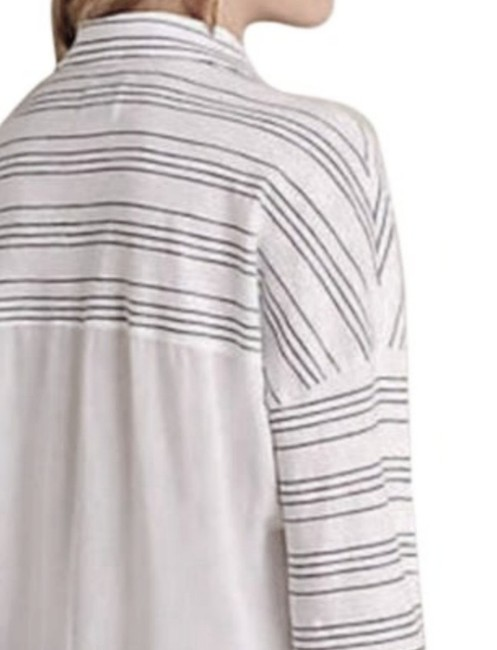Anthropologie Button Front High Low Hem Sheer Solid Back Top Grey White Image 6