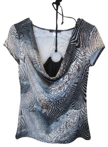 Dynamite Cap Sleeve Printed Easy Care With Silver Ring Tie Neck Detail Top Black Brown Print