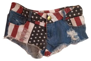 Mini/Short Shorts Denim red white blue
