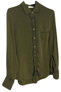 Piamita Pajama Pajama Silk Button Down Shirt army green