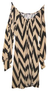 Auditions Chevron Button Detailing On Sleeves Cold Shoulder Dress