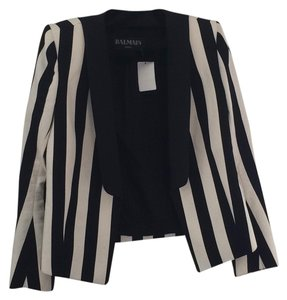 Balmain Striped Black And White Black/White Blazer