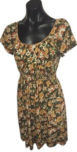 Chelsea & Violet short dress Green Floral Floral Pring Pleated Bodice Cap Sleeve Elastic Waist on Tradesy