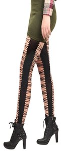 black crisscross cutout front and back X tights goth club sexy costume wear