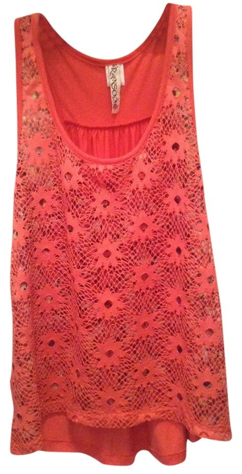 6b82fbc725fe6 Other Crochet Sheer Floral Overlay Racerback Shirt Tee Coral Juniors Xs  Small Jcp Jcpenney Free People ...