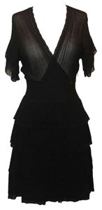 Chanel Tiered Ruffled Ruffles Knitted Knit Lightweight Silk Ribbed Logo Monogram A-line V-neck Dress