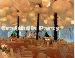 "White 12pcs Mixed Size Of 6"" 10"" 12"" with Led Light Chinese Round Paper Lanterns with Led Light For Floral Ceremony Decoration"