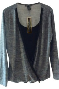 Suzie In The City Fringe Hem Top Inside Black, Outside Grey