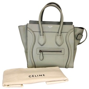 Céline Gray Nano Mini Calfskin Satchel in Wolf Grey