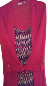 Kim Rogers Top Red outside with red black multi shell