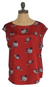 Matty M Printed Floral Top BURGUNDY