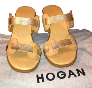 Hogan New Brand Brand Cork Cork Platform Women Sale Designer Gold and tan Wedges
