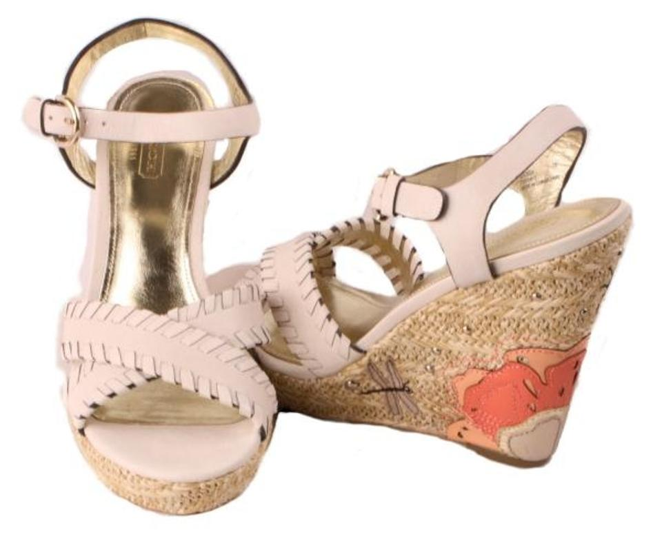 Coach white flower and dragonfly justeen wedges size us 75 regular coach white wedges mightylinksfo