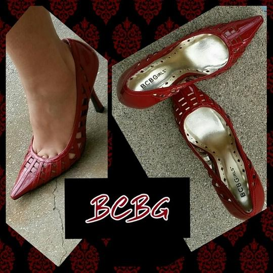 BCBGMAXAZRIA Patent Leather Pointed Toe Red Pumps