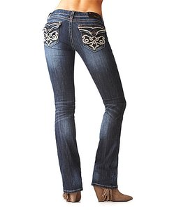 Grace in LA Leather Filigree Boot Cut Jeans-Dark Rinse