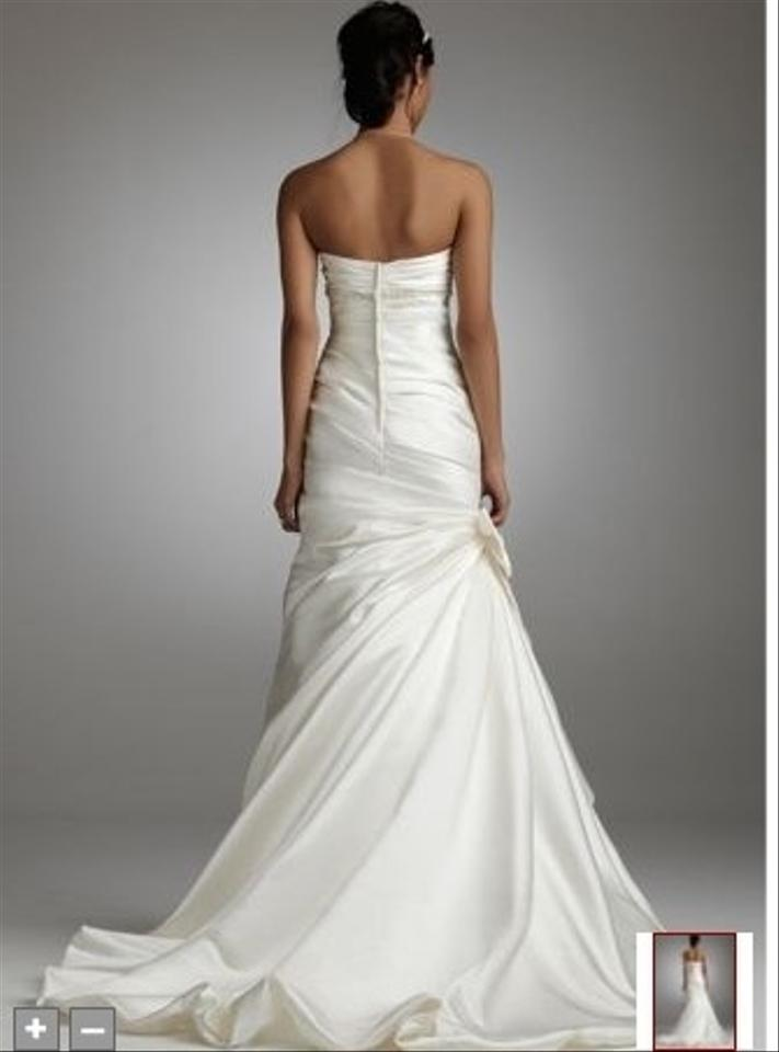 David 39 s bridal satin fit and flare gown with bow detail for Satin fit and flare wedding dress
