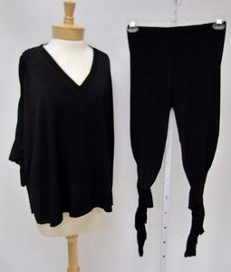 Planet Lauren Grossman Black Pc Ruched Top Pants Outfit Os - 1