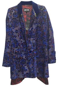 Just Cavalli Burnout Velvet Tux Lined One Button Rose Print Logo Designer Zipper Blue Jacket
