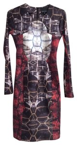 Cynthia Rowley Neoprene Stretchy Graphic Print Print Tortoise Tortoise Shell Dress