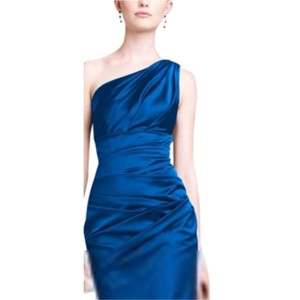 David's Bridal Marine One Shoulder Stretch Satin Short Dress / Style 85106 Dress