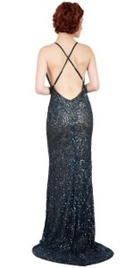 Navy Spaghetti Straps V-neck Sequins Long Formal Dress
