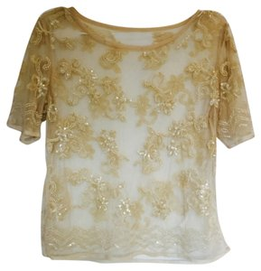 Other Embroidered Embellished See Through Top yellow